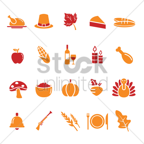 thanksgiving day icons vector graphic
