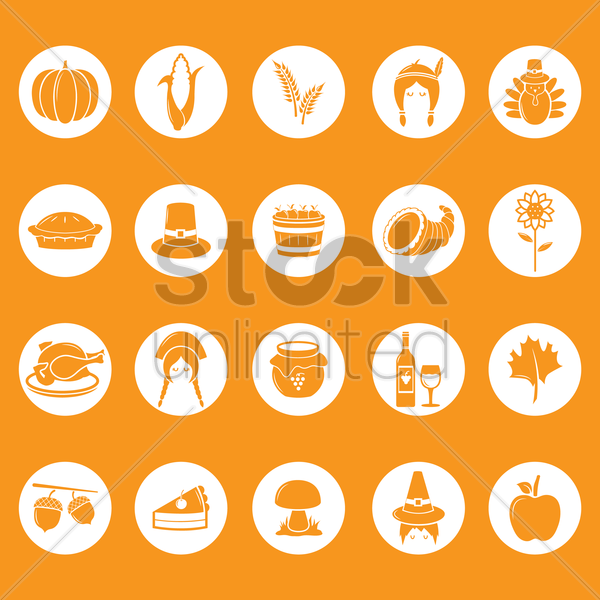 thanksgiving icons collection vector graphic