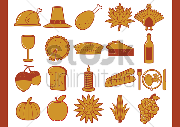 thanksgiving icons vector graphic