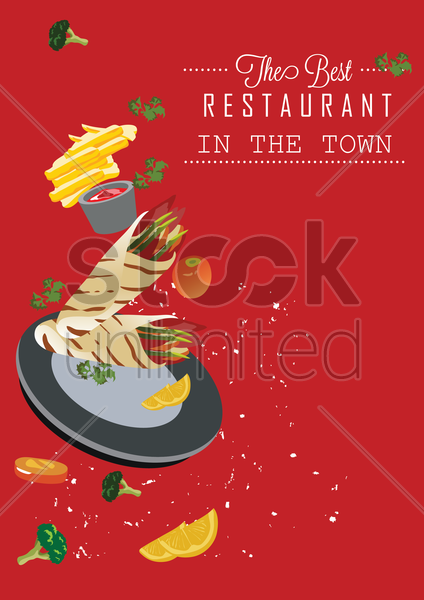 the best restaurant in the town poster vector graphic
