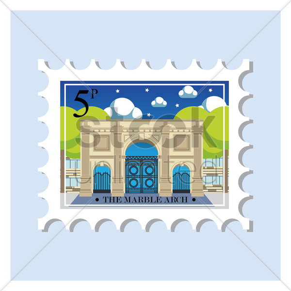 the marble arch postage stamp vector graphic