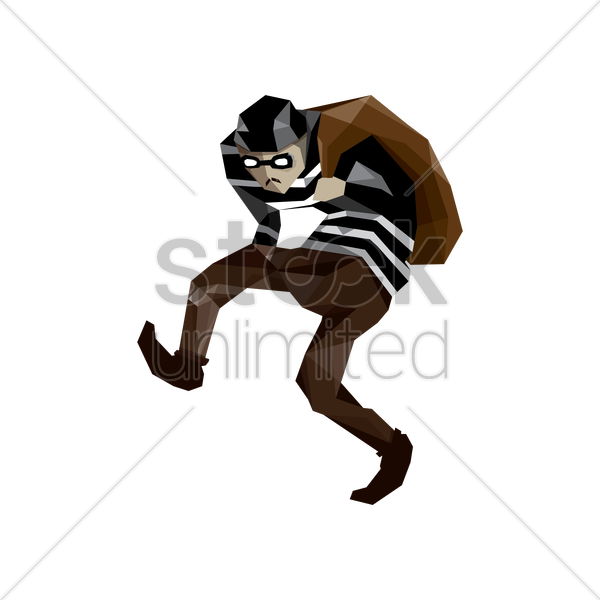 thief with bag vector graphic