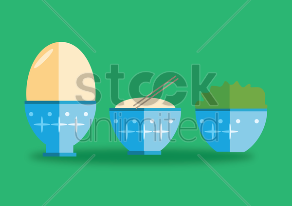 three bowls filled with an egg, noodles and spinach vector graphic
