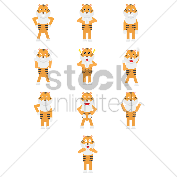tiger expressions vector graphic