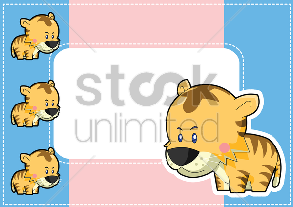 tiger on a label vector graphic