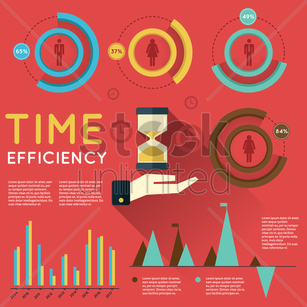 time efficiency infographic vector graphic