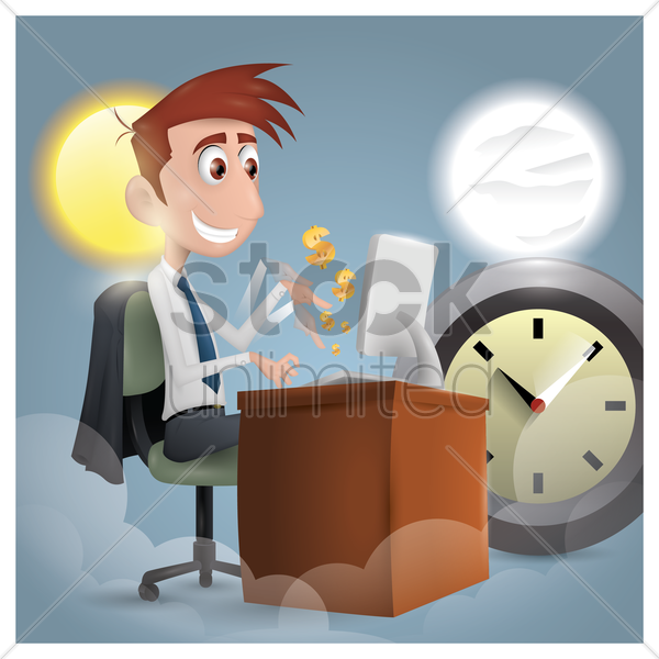 time is money concept vector graphic
