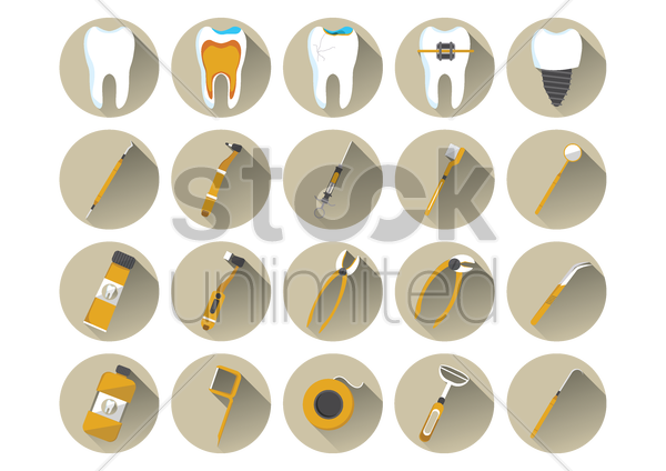 tooth and dental instruments collection vector graphic