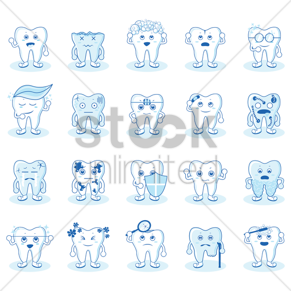 tooth collection vector graphic