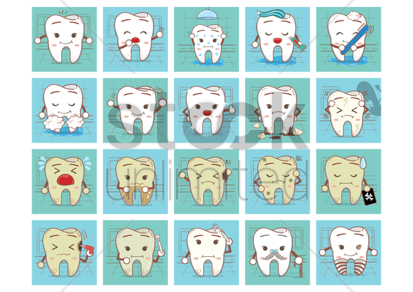 tooth with various actions vector graphic
