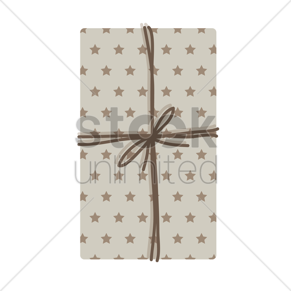 top view of a gift box tied on white background vector graphic