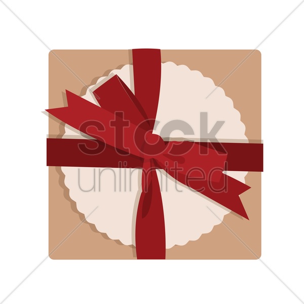 top view of a gift box tied with a red ribbon vector graphic