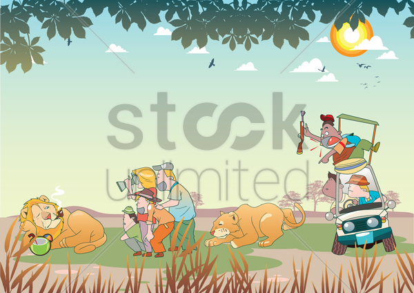 tourists on a safari tour vector graphic