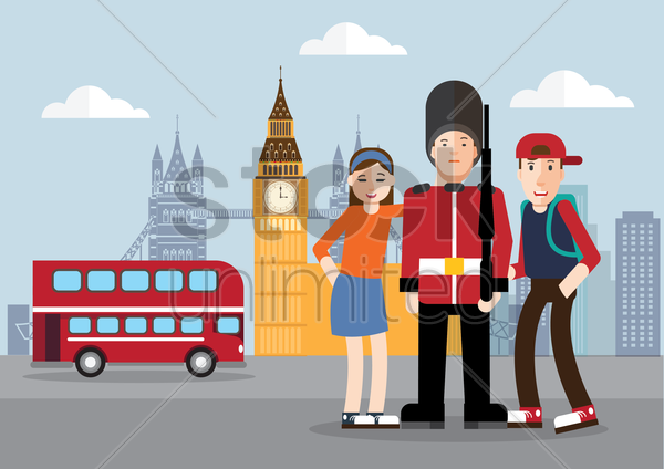 tourists visiting big ben tower vector graphic