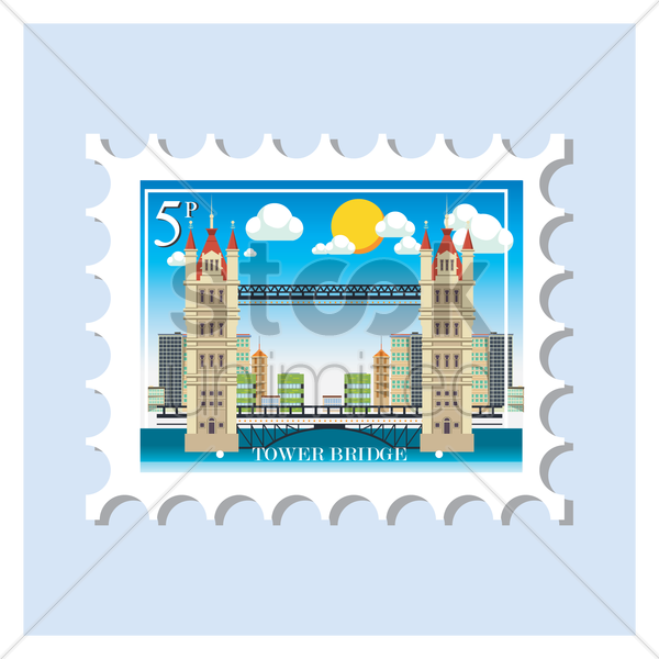 tower bridge postage stamp vector graphic