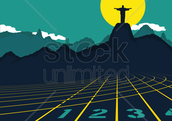 track and field with christ the redeemer vector graphic