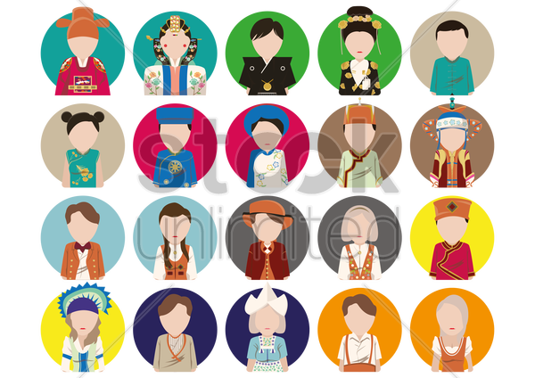 traditional costume icons vector graphic
