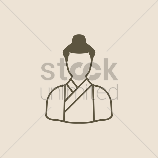 traditional japanese man vector graphic