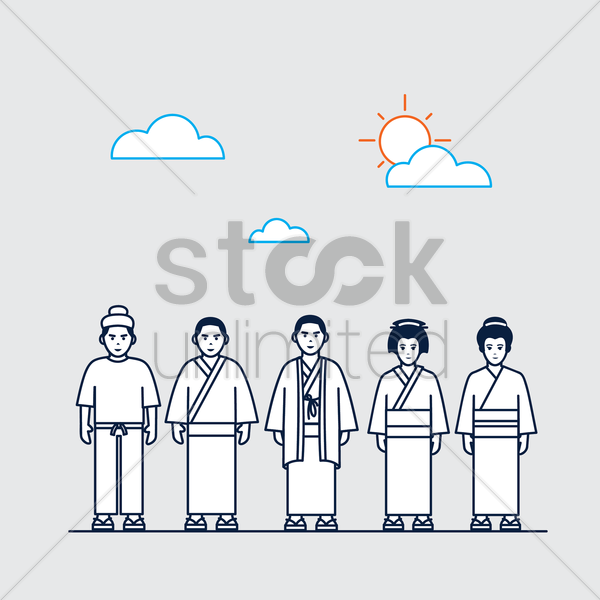 traditional japanese men and women vector graphic