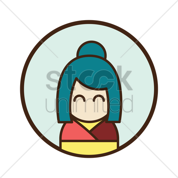 traditional japanese woman vector graphic