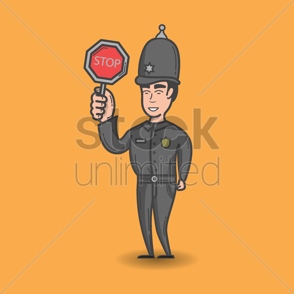 traffic cop with signal board vector graphic