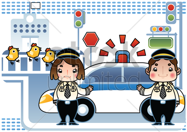 traffic police with siren car vector graphic