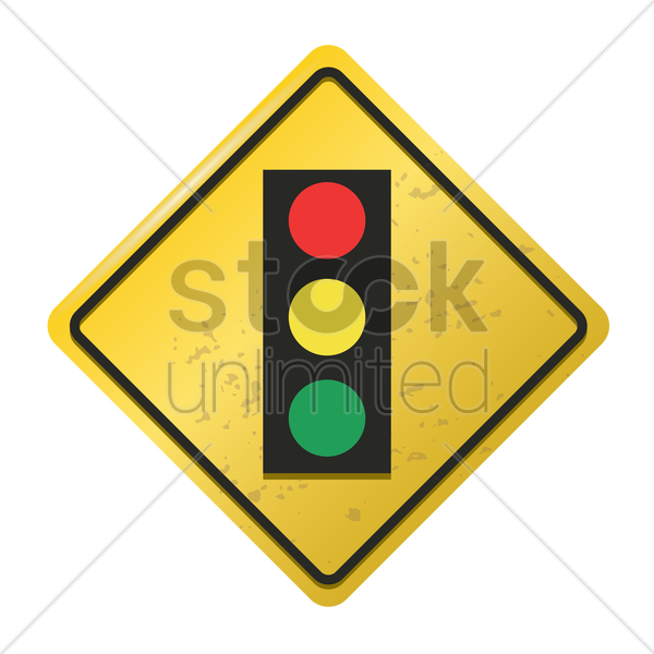 traffic signal ahead sign vector graphic