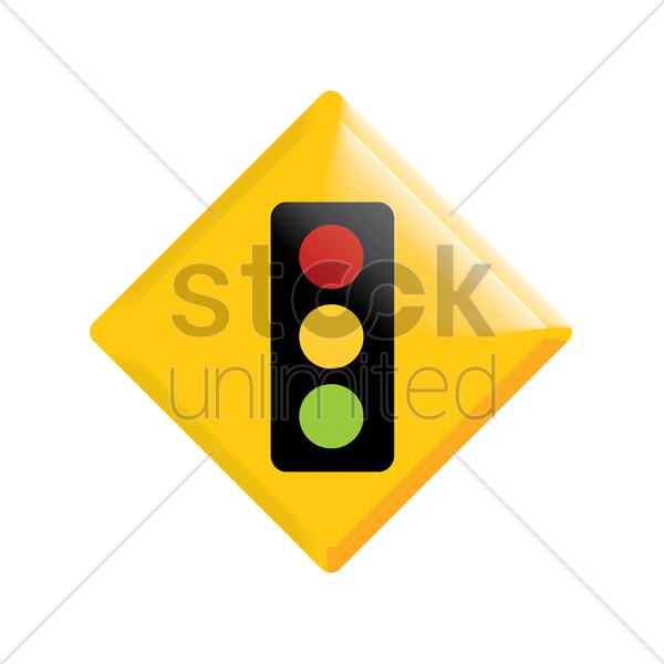 traffic signal ahead vector graphic