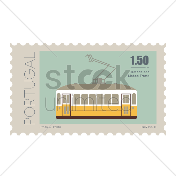 tram postage stamp vector graphic