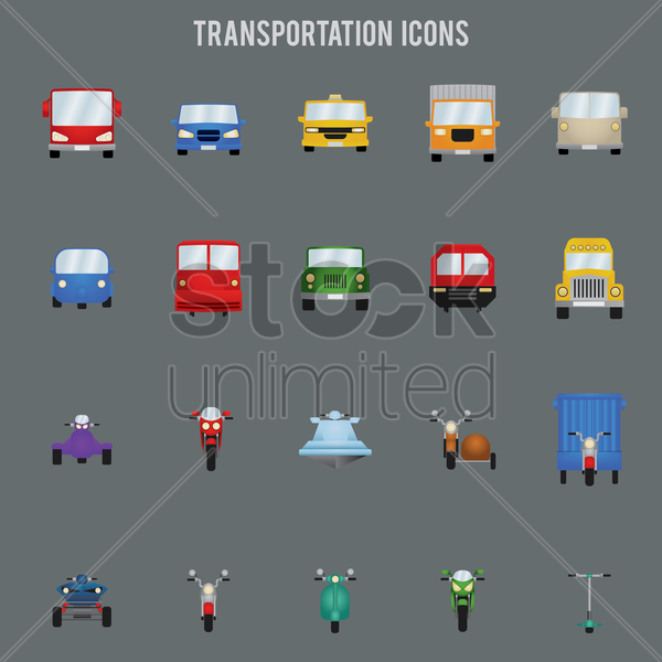 transportation icons set vector graphic