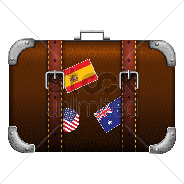 travel bag with flag labels vector graphic