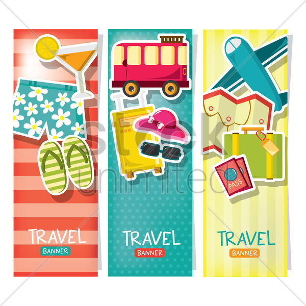 travel banners vector graphic