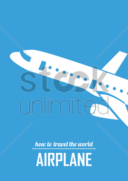 travel by airplane poster vector graphic