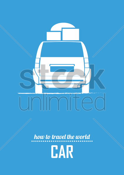 travel by car poster vector graphic