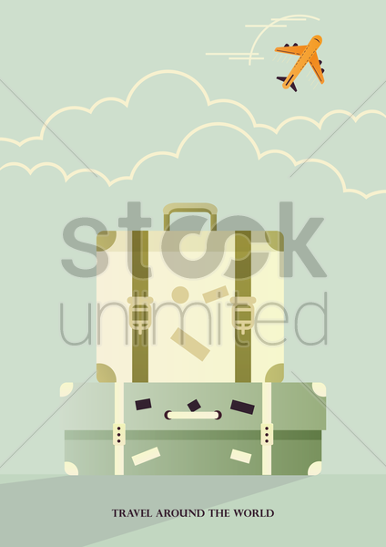 travel concept poster with suitcases vector graphic