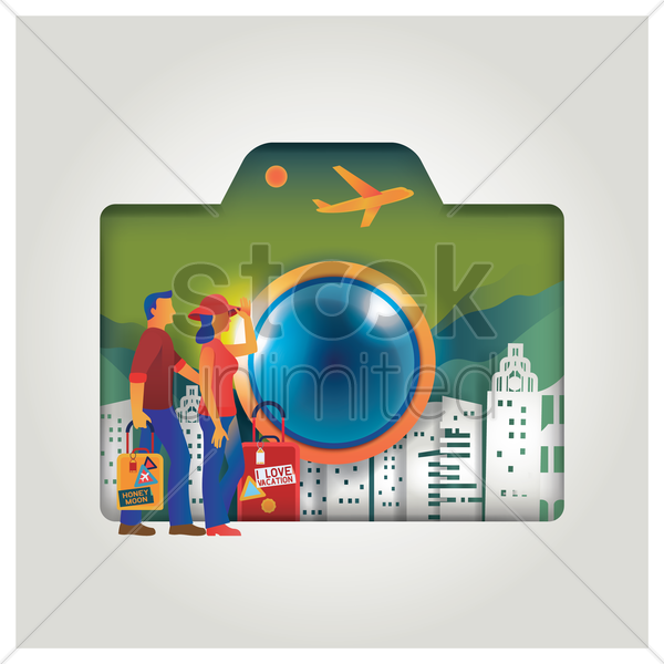 travel concept with camera vector graphic