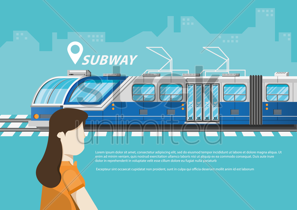 travel concept with subway vector graphic