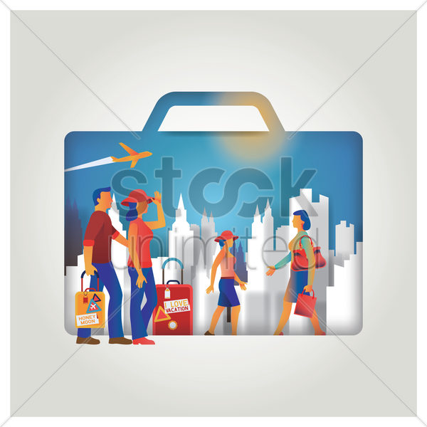 travel concept with suitcase vector graphic