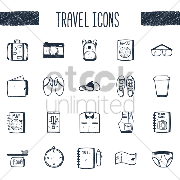 travel icons set vector graphic
