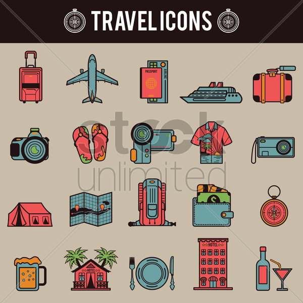 travel icons vector graphic