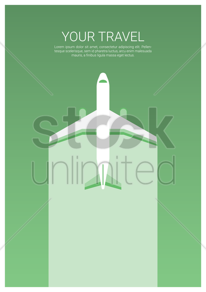 travel poster with airplane vector graphic
