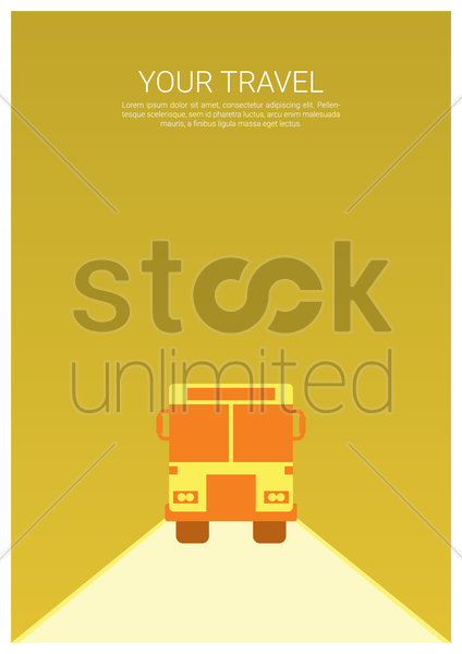 travel poster with bus vector graphic