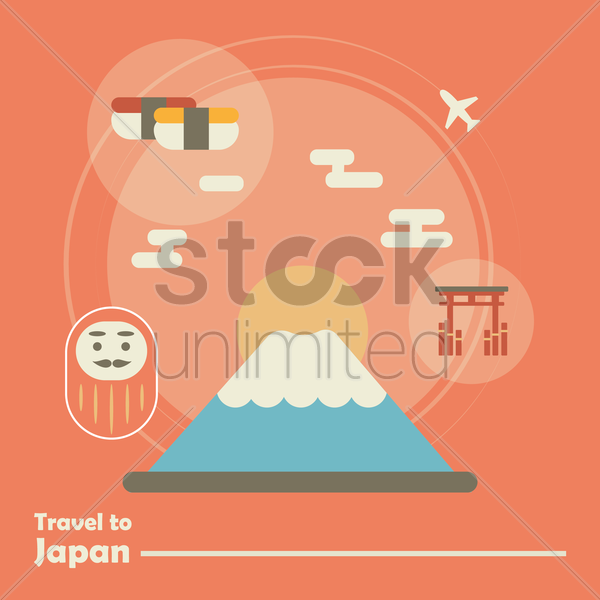 travel to japan vector graphic