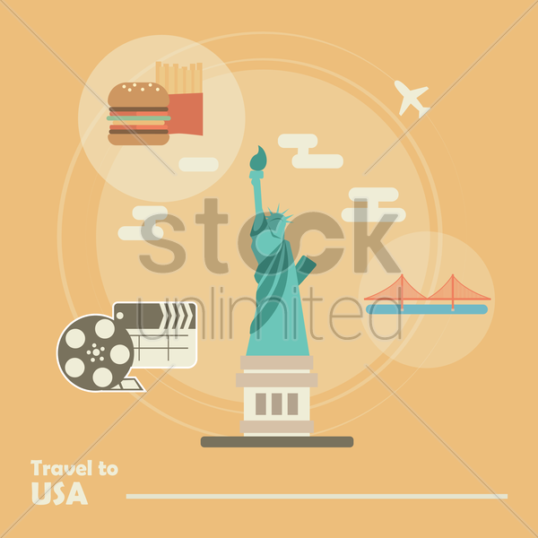 travel to usa vector graphic