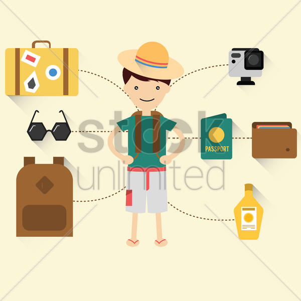 traveler with traveling icons vector graphic