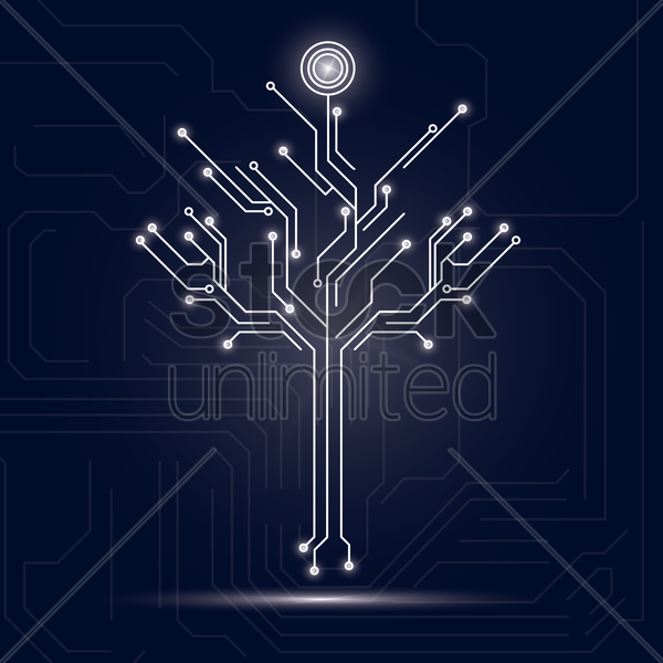 tree design on circuit board background vector graphic