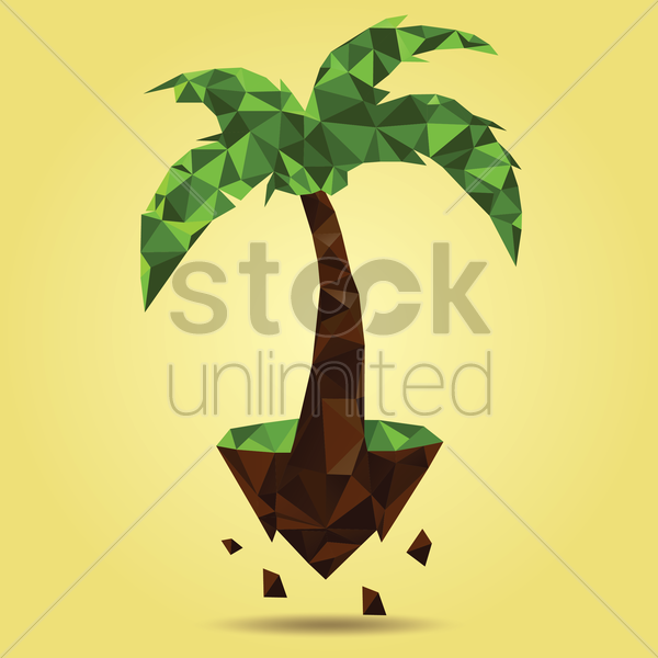Free tree on floating island vector graphic