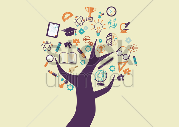 tree with education icons vector graphic