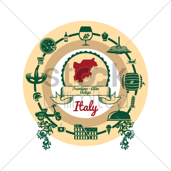 trentino-alto adrige map label vector graphic