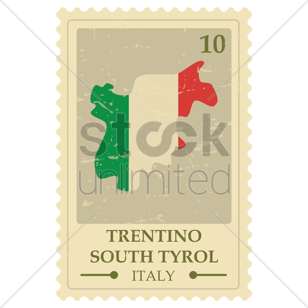 trentino south tyrol map postage stamp vector graphic